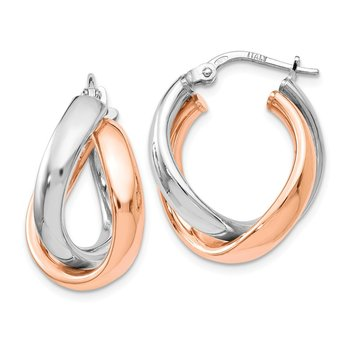 Leslie's Sterling Silver Rose Gold-plated Double Hoop Earrings