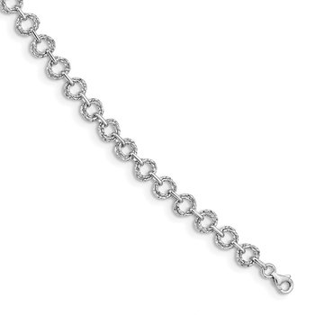 14K White Polished & Textured Fancy Link Bracelet