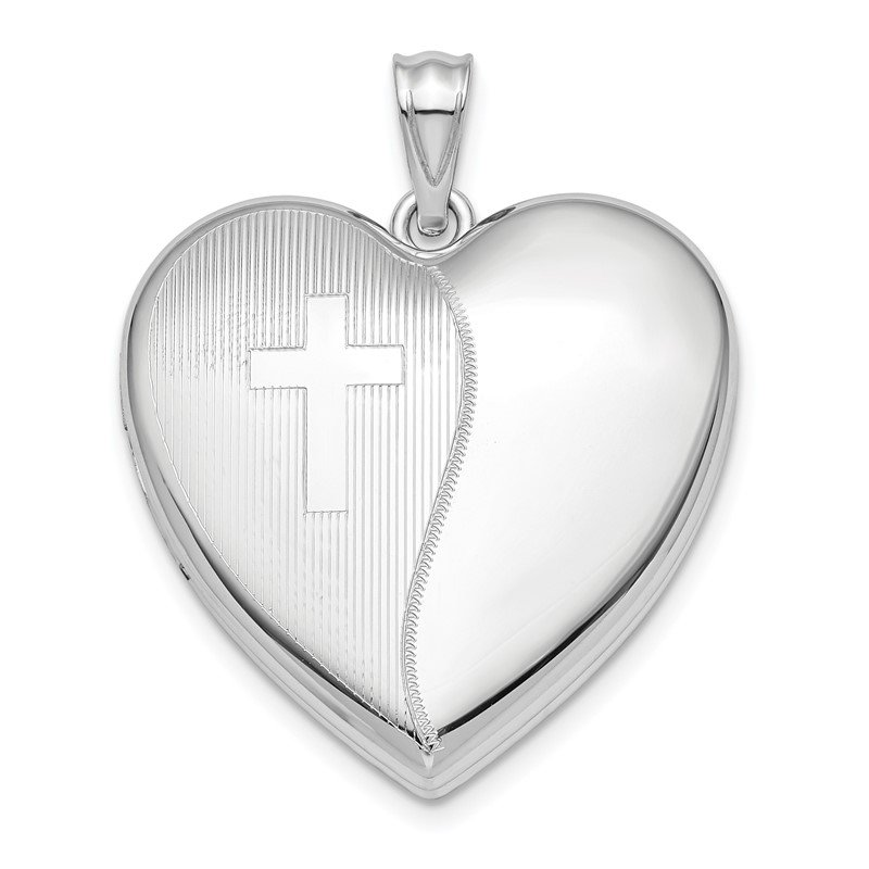 Lester Martin Online Collection Sterling Silver Rhodium-plated 24mm with Cross Design Ash Holder Heart Lock
