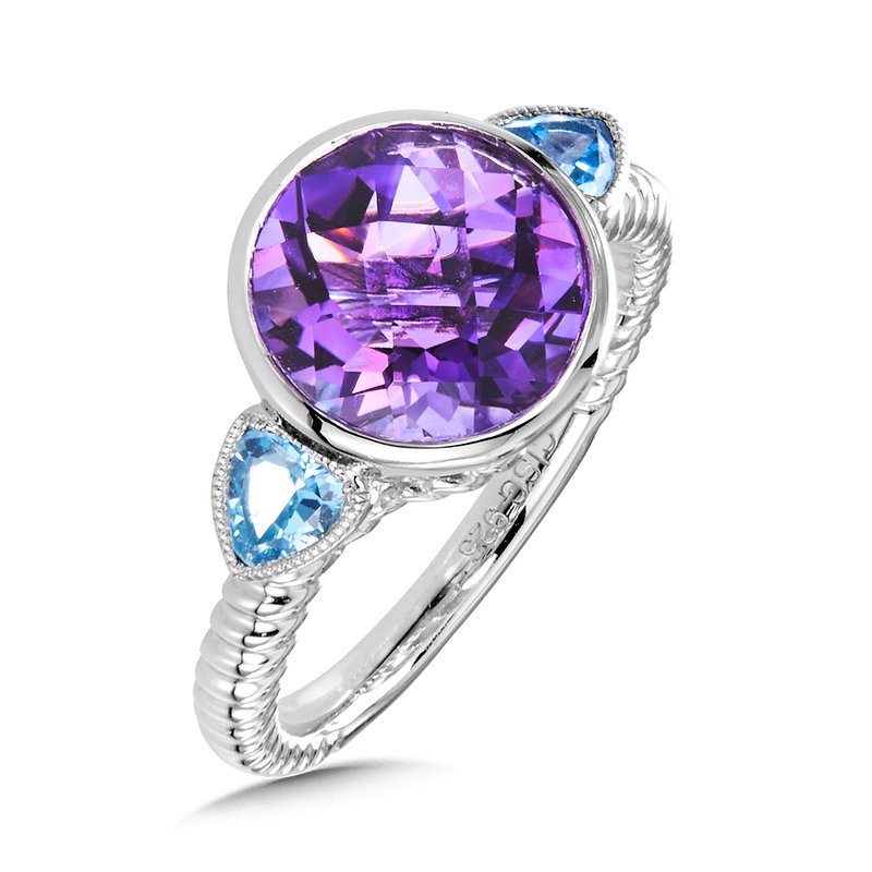 Colore Sg Sterling Silver Amethyst and Blue Topaz Ring
