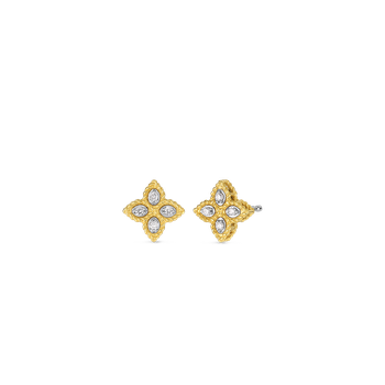 18KT GOLD SMALL STUD EARRINGS WITH DIAMONDS
