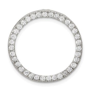 Sterling Silver Rhodium-plated CZ Round Pendant