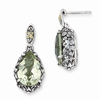 Sterling Silver w/14k Green Quartz Post Dangle Earrings