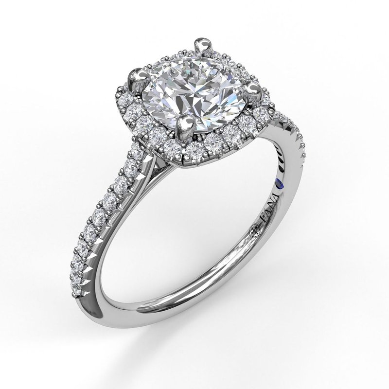 Delicate Cushion Halo Engagement Ring With Pave Shank