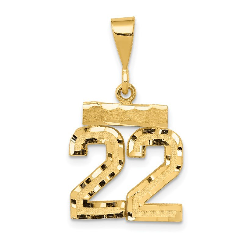 Quality Gold 14k Small Diamond-cut Number 22 Charm
