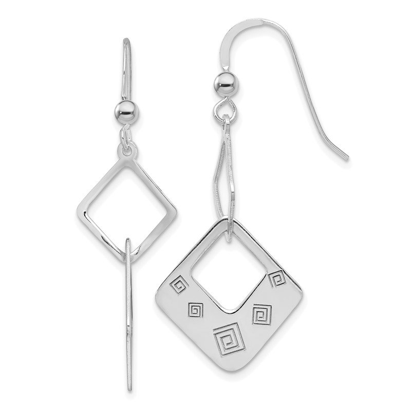 Quality Gold Sterling Silver Polished Geometric Dangle Earrings