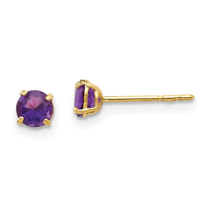 Quality Gold 14k Madi K Round Amethyst 4mm Post Earrings