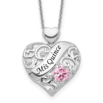 Sterling Silver Enamel Pink/Clear CZ MIS QUINCE Heart Necklace
