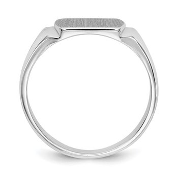 14k White Gold 8.0x10.5mm Closed Back Signet Ring