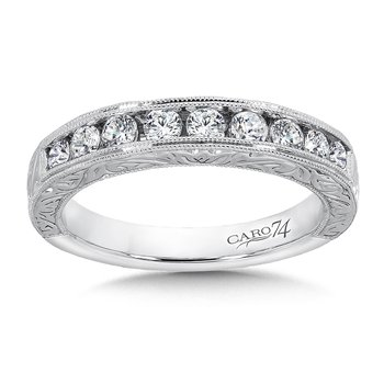 CARO 74 Channel-Set Diamond Anniversary Band with Hand Engraving and Milgrain detailing in 14K White Gold