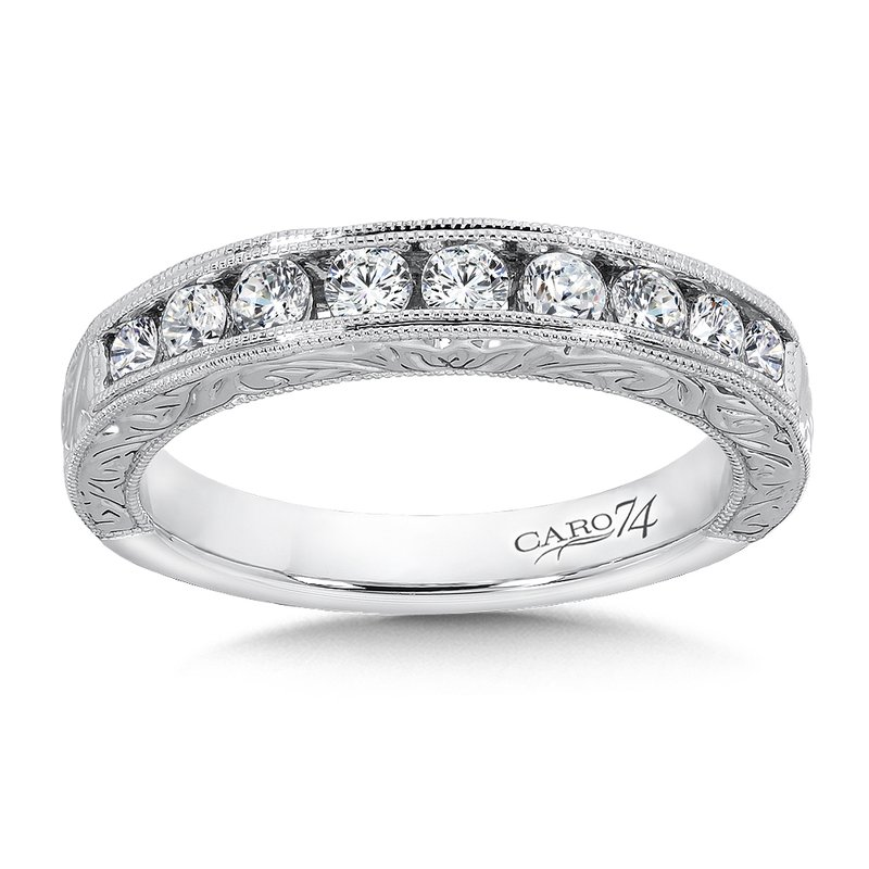 Caro74 CARO 74 Channel-Set Diamond Anniversary Band with Hand Engraving and Milgrain detailing in 14K White Gold