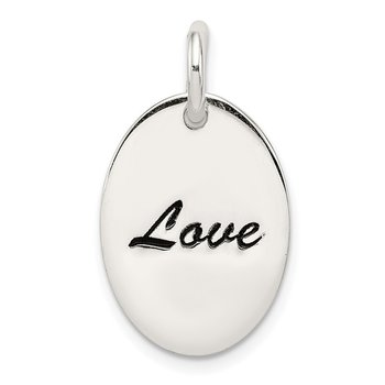 Sterling Silver Polished Enamel Love Pendant