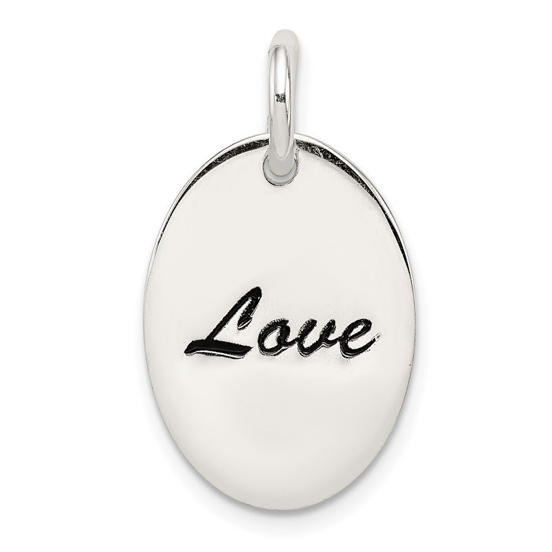Quality Gold Sterling Silver Polished Enamel Love Pendant