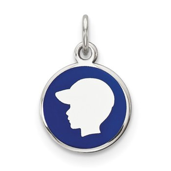 Sterling Silver Rhod-plate Blue Enamel Left Facing Boy Head Disc Charm