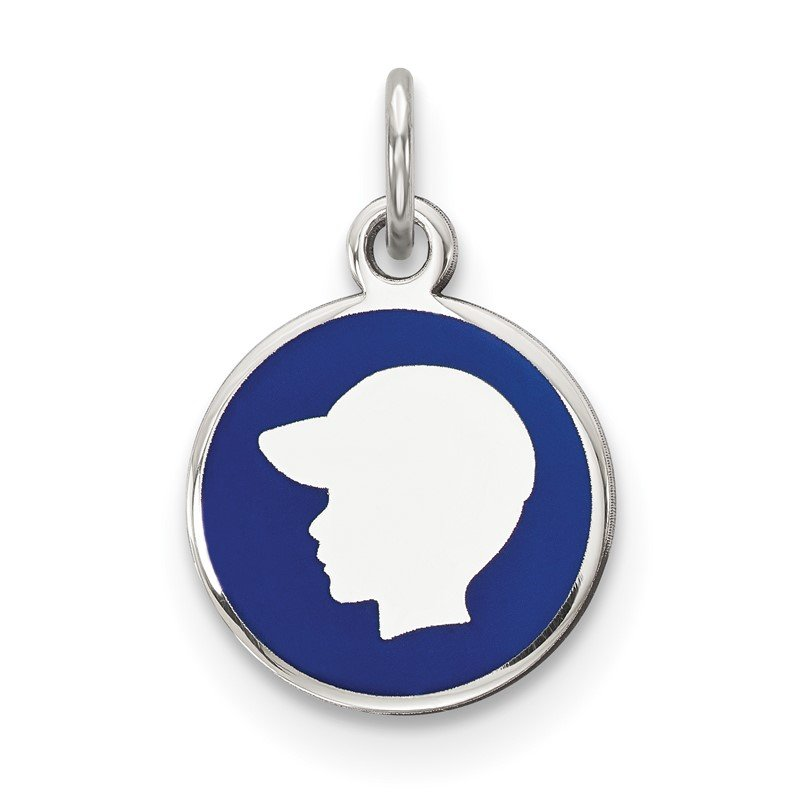 Quality Gold Sterling Silver Rhod-plate Blue Enamel Left Facing Boy Head Disc Charm