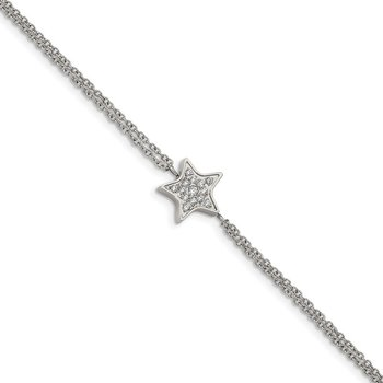 Stainless Steel Polished with CZ Star 6.25in w/2in ext. Bracelet