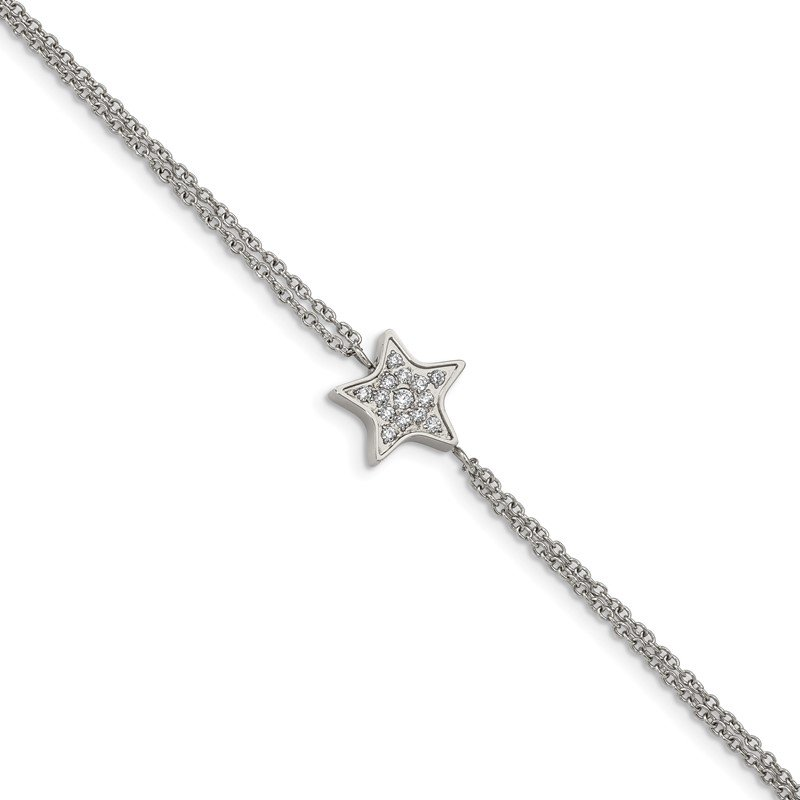 Chisel Stainless Steel Polished with CZ Star 6.25in w/2in ext. Bracelet