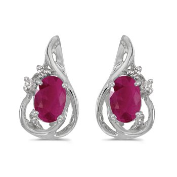 14k White Gold Oval Ruby And Diamond Teardrop Earrings