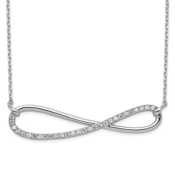 Sterling Silver CZ Polished Infinity Symbol Necklace