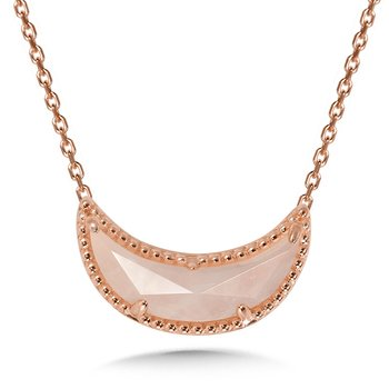 14K Rose Gold Plated Sterling Silver Moon Pendant