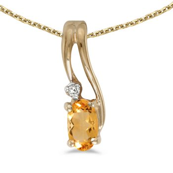 14k Yellow Gold Oval Citrine And Diamond Wave Pendant