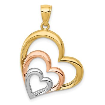 14K Two-tone and White Rhodium Polished 3 Hearts Pendant