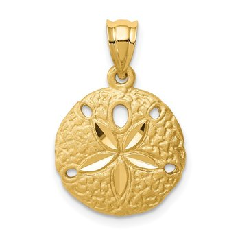 14K Brushed Diamond-Cut Sand Dollar Pendant