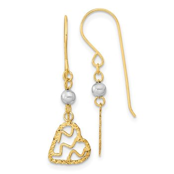14k Polished Satin and D/C Heart Dangle Shepherd Hook Earrings