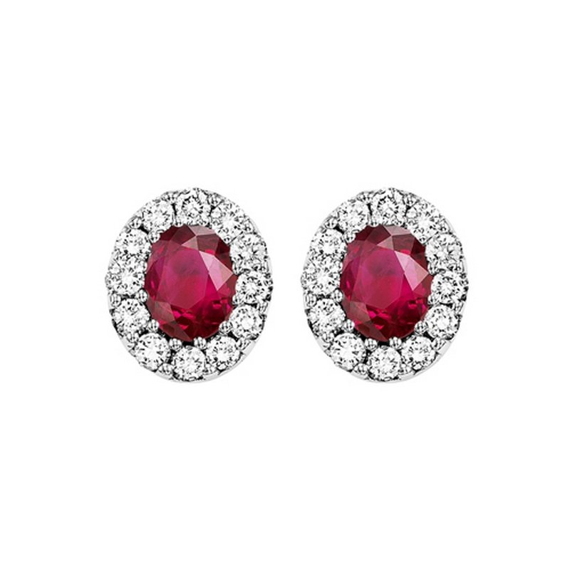 Gems One 14K White Gold Color Ensembles Halo Prong Ruby Earrings 1/5CT