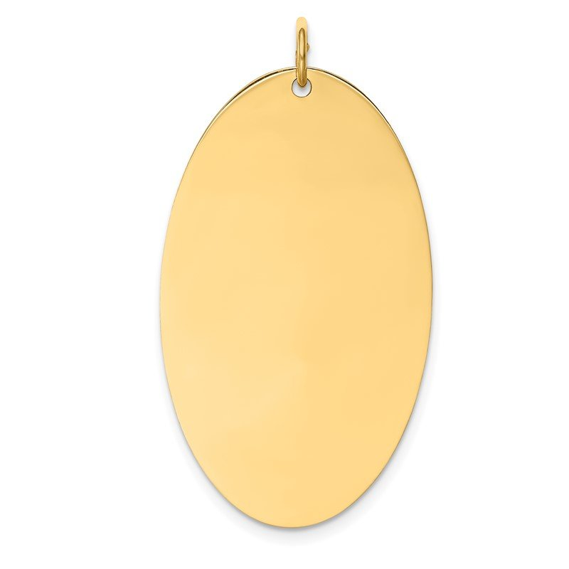 14k Plain .027 Gauge Engravable Elliptical Disc Charm