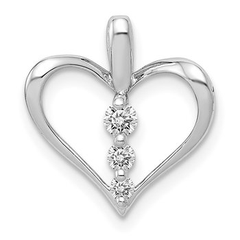14k White Gold 1/10ct. Diamond 3-stone Heart Pendant