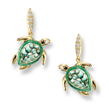 18 Karat Gold Turtle Stud Earrings -Green. Diamonds.