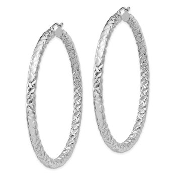 Sterling Silver Rhodium-plated Textured 4x60mm Hoop Earrings