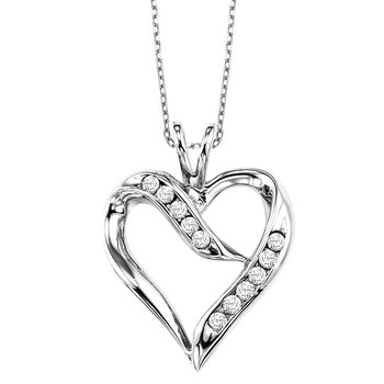 Diamond Open Ribbon Heart Pendant in Sterling Silver