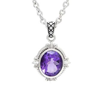 Sterling Silver Fleur de Lis Design Amethyst Pendant with Chain