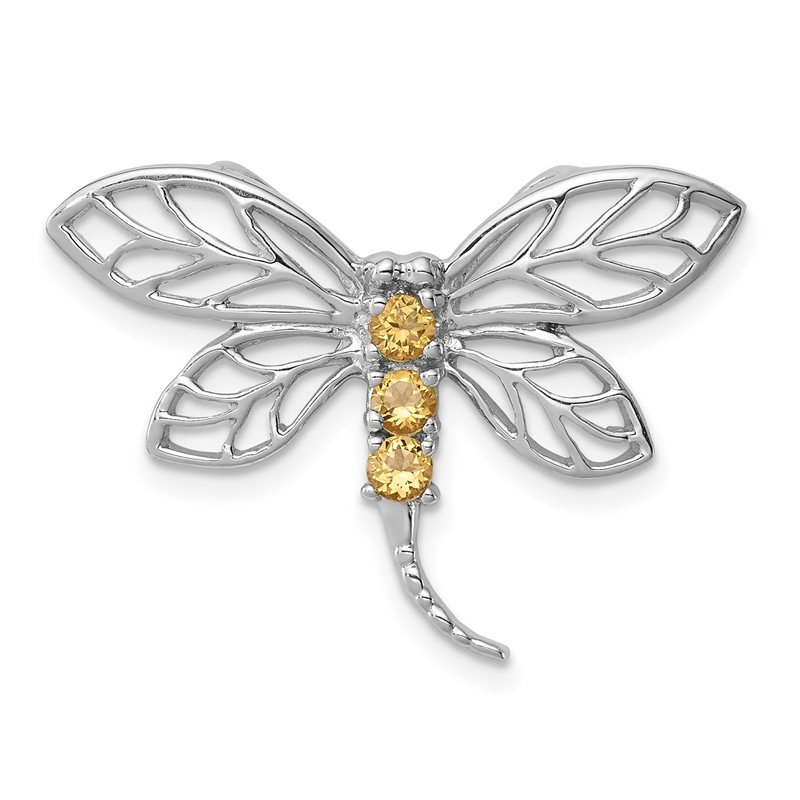 Sterling Silver Rhodium Citrine Dragonfly Chain Slide