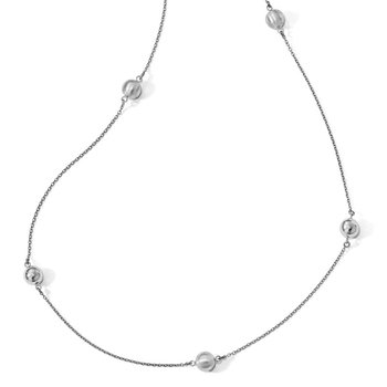 Leslie's Sterling Silver Polished Scratch-finish Beaded Necklace