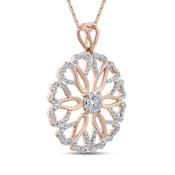 10K Rose Gold 5/8 Ct Diamond Fashion Pendant with Chain
