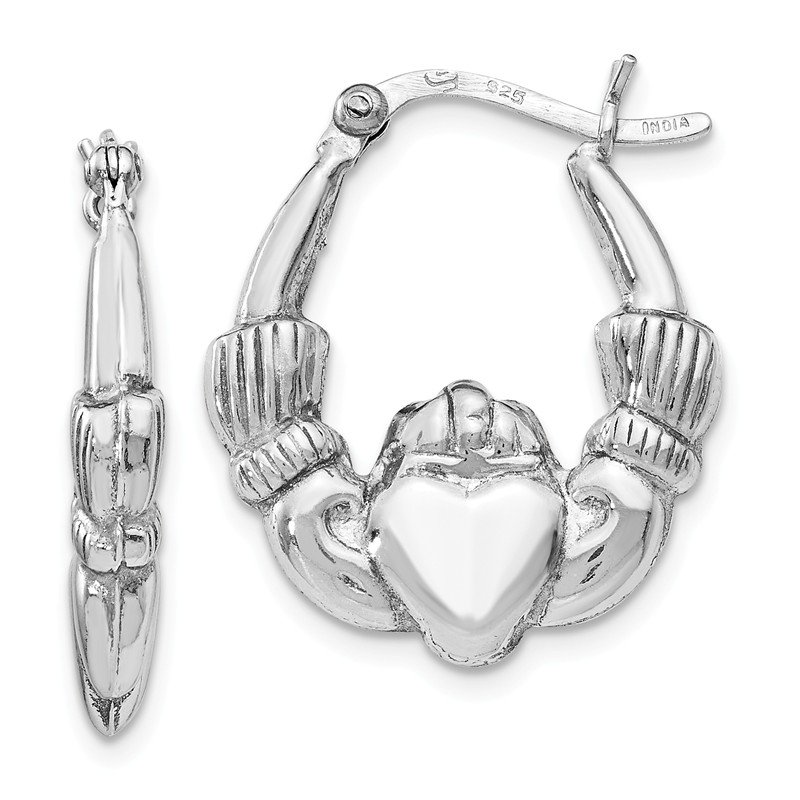 Leslie's Leslie's Sterling Silver Polished Claddagh Hinged Hoop Earrings