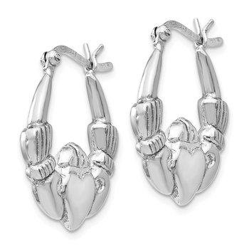Leslie's Sterling Silver Polished Claddagh Hinged Hoop Earrings