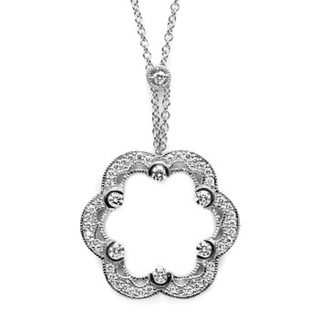 Open Floral Blossom Pendant Necklace