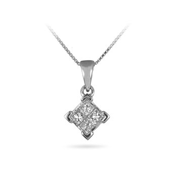 14K WG Diamond Princess Cut Invisible Set Pendant