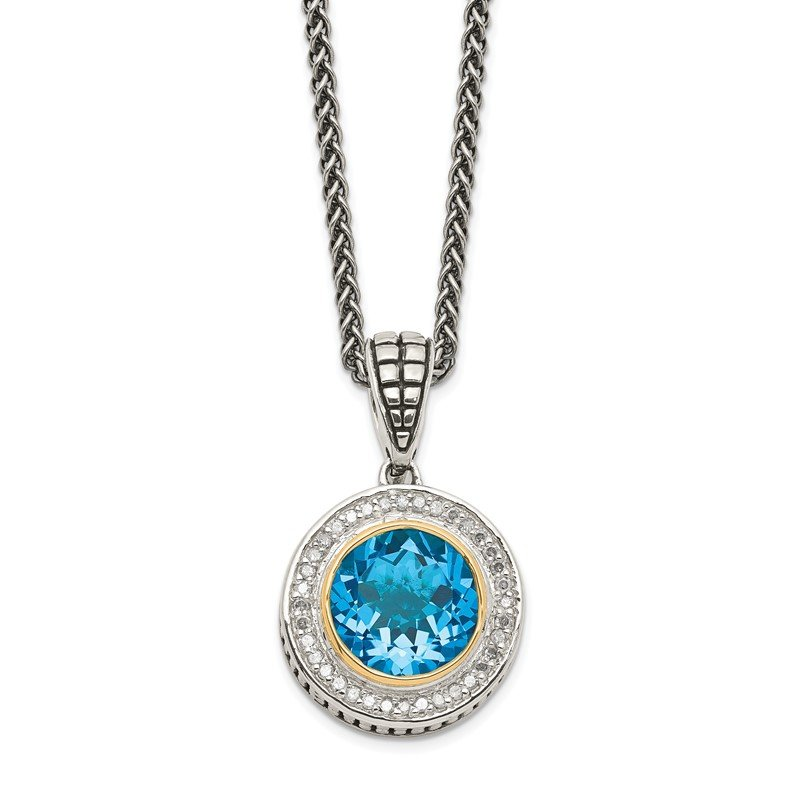 Quality Gold Sterling Silver w/14K Swiss Blue Topaz & Diamond Necklace