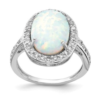 Cheryl M Sterling Silver Rhodium-plated CZ & Oval Created Opal Ring
