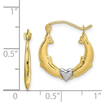 10K & Rhodium Dolphin Heart Hollow Hoop Earrings
