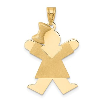 14k Solid Engravable Girl with Bow on Left Charm