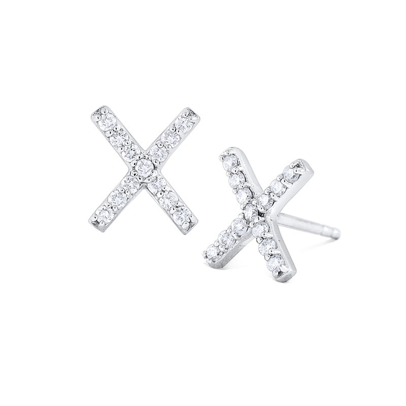 "KC Designs 14K Gold and Diamond ""X"" Earrings"