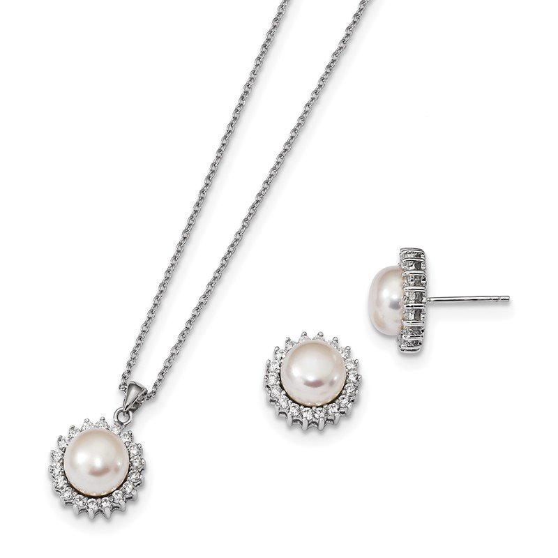 Quality Gold Sterling Silver RH 8-9mm White FWC Pearl CZ Earring and Necklace Set