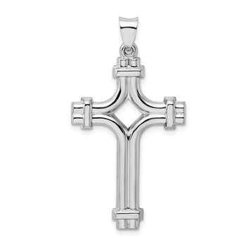 Sterling Silver Rhodium-plated Polished Fancy Cross Pendant