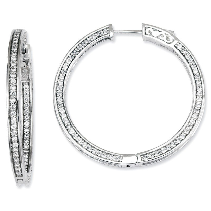 Quality Gold Sterling Silver CZ 336 Stones In and Out Round Hoop Earrings